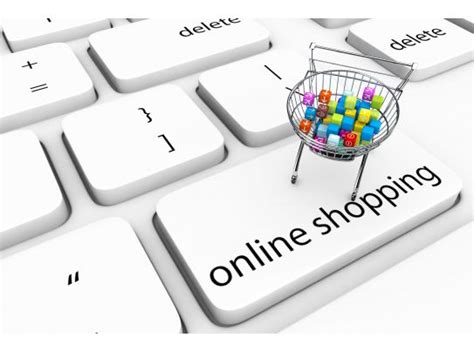 Keyboard Key Of Online Shopping With Cart Full Of Cubes