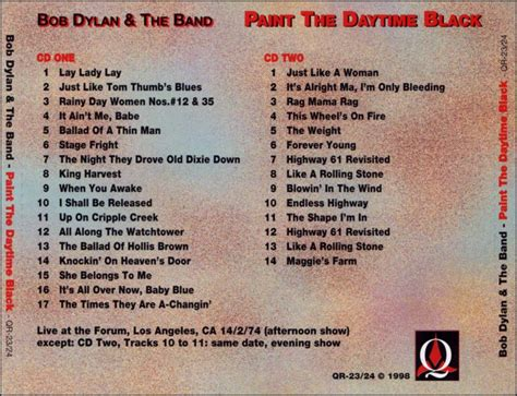 Bob Dylan & The Band: Paint The Daytime Black