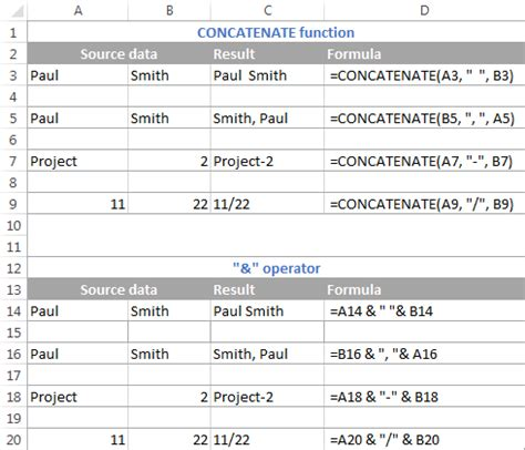 """Excel CONCATENATE function and """"&"""" to combine strings"""