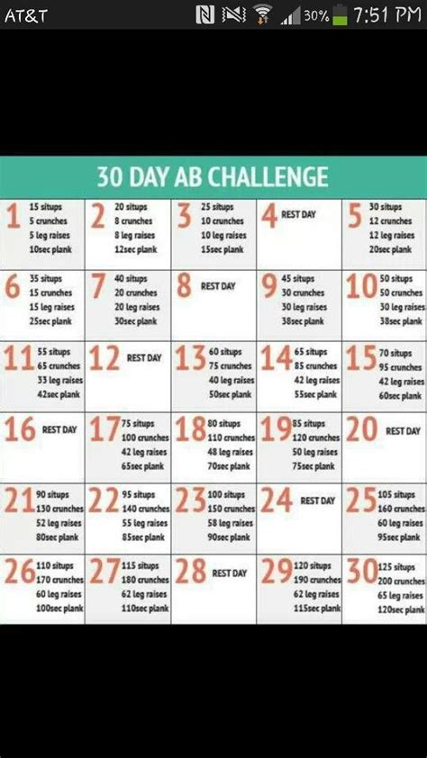 Weekly workout plans, 30 day ab challenge, 30 day workout