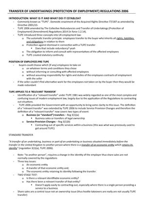 TUPE Regulations 2006 - Lecture notes 7 - StuDocu