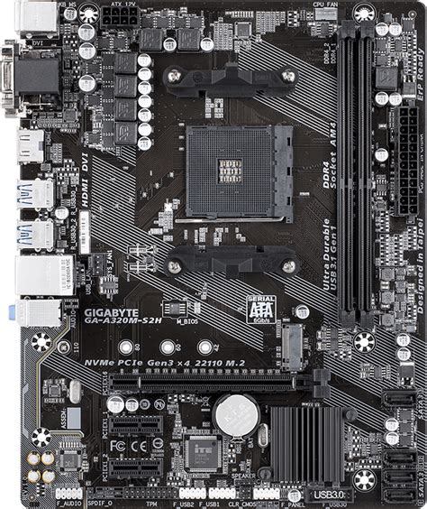 Gigabyte GA-A320M-S2H - Motherboard Specifications On